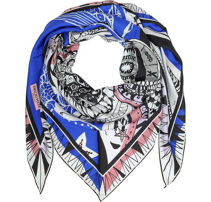 Zodiac Print Twill Silk Triangle Scarf - Emilio Pucci