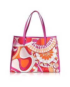 Orange and Fuchsia Printed Canvas Tote bag - Emilio Pucci