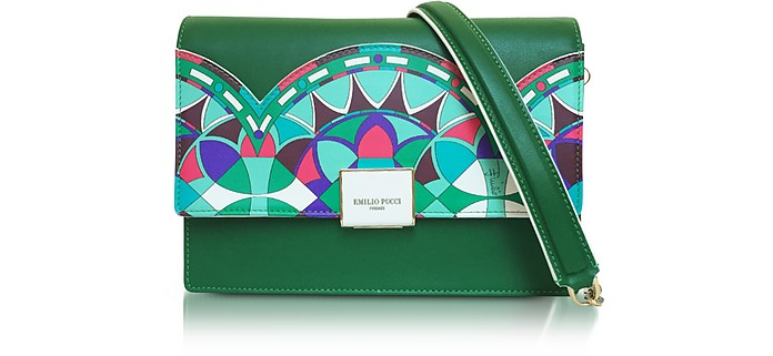 Emerald Green Optical Printed Leather Shoulder Bag - Emilio Pucci