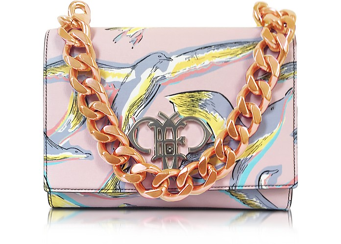Pink Saffiano Leather Bird Print Hand Bag - Emilio Pucci