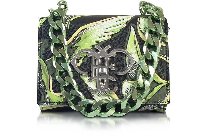 Green Saffiano Leather Bird Print Shoulder Bag - Emilio Pucci