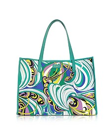 Turquoise and Mint Green Fabric Tote Bag - Emilio Pucci