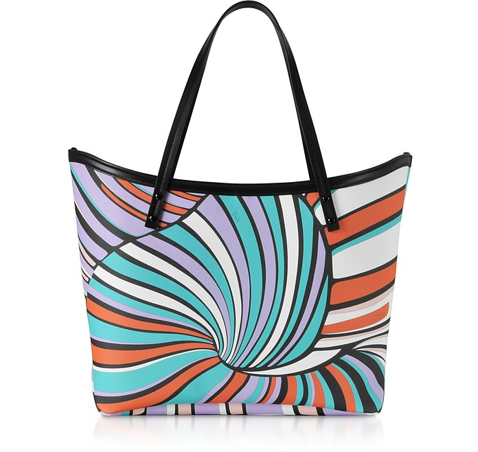Shopping Bag Lilla e Verde Acqua Stampa Optical - Emilio Pucci