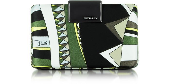 Khaki Niki Fabric Box Clutch - Emilio Pucci