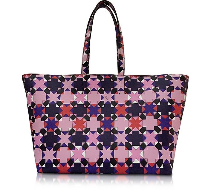 Pink and Multicolor Symbols Print Leather Tote - Emilio Pucci
