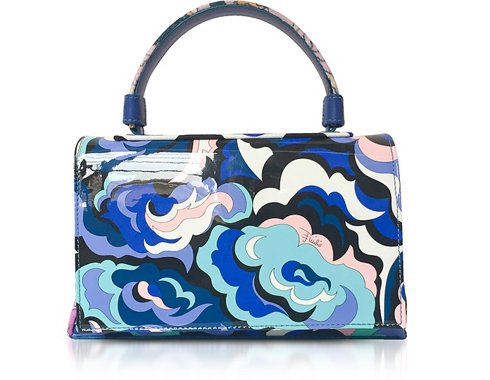 Emilio Pucci BLUE SILK AND LEATHER TOP HANDLE SHOULDER BAG