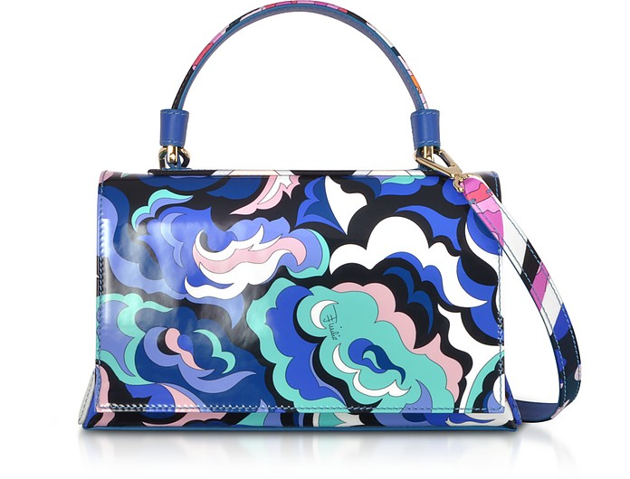 Blue Silk and Leather Top Handle Satchel Bag - Emilio Pucci