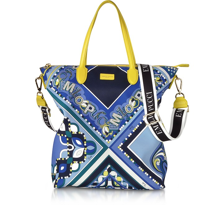 Cobalt and Petrol Blue Printed Canvas N/S Tote Bag - Emilio Pucci