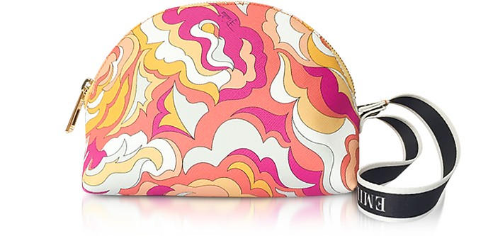 Coral and Sand Coated Canvas Cosmetic Case/Pouch - Emilio Pucci