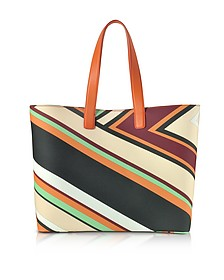 Cervara Print Mint and Burgundy Eco Leather Tote Bag - Emilio Pucci