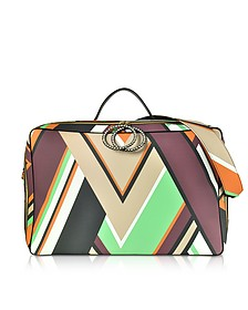 Mint Green and Burgundy Oversized Top-Handle Bag - Emilio Pucci