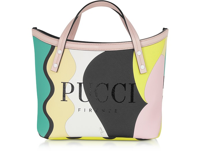 Shopping Bag Stampa Optical Verde Smeraldo e Verde Menta - Emilio Pucci