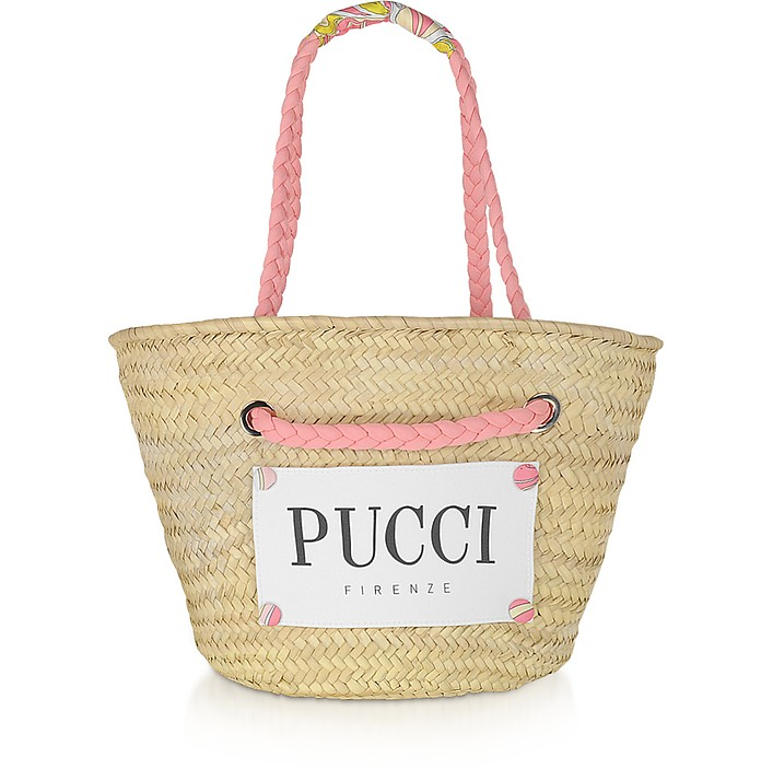 Pink & Natural Straw Tote Bag - Emilio Pucci
