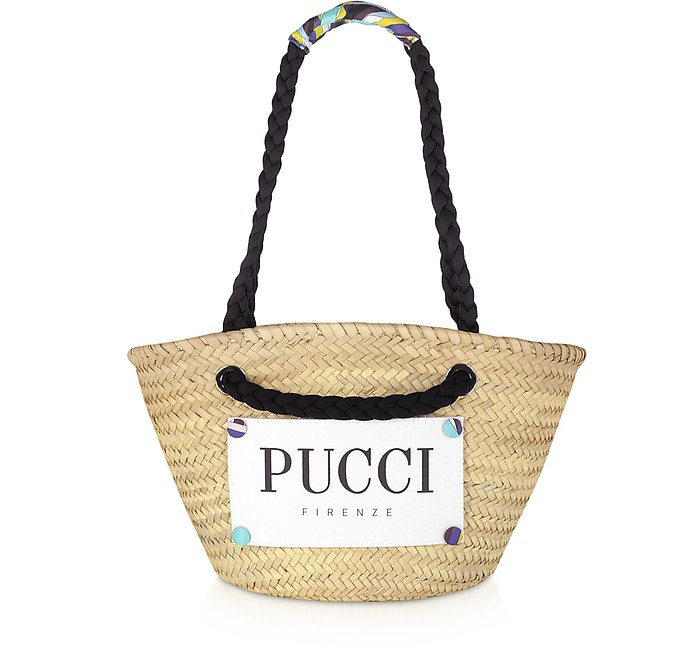 Burnt & Natural Straw Tote Bag - Emilio Pucci