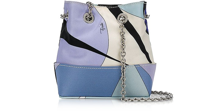 Light Blue Abstract Print Bucket Bag - Emilio Pucci