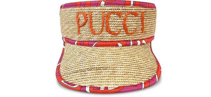 Signature Natural Straw Women's Tennis Visor - Emilio Pucci