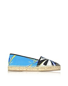Turquoise Printed Cotton and Leather Espadrilles - Emilio Pucci