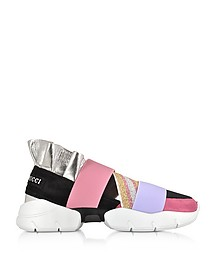 Black and Lava Suede and Silver Metallic Leather Ruffle Sneakers - Emilio Pucci