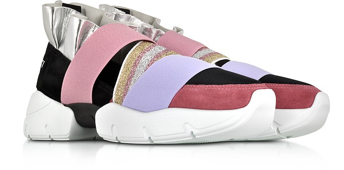 5412ef420840 Twitter · Pinterest · Share on Tumblr. Black and Lava Suede and Silver  Metallic Leather Ruffle Sneakers - Emilio Pucci