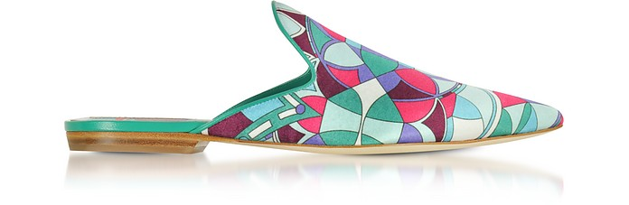 Optical Printed Leather Slippers - Emilio Pucci
