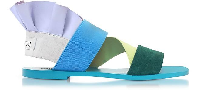 Elastan and Suede Color Block Flat Sandals - Emilio Pucci
