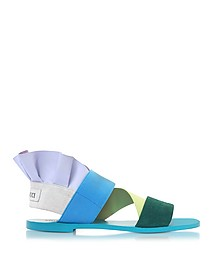 Elastan and Suede Color Block Flat Sandals - Emilio Pucci