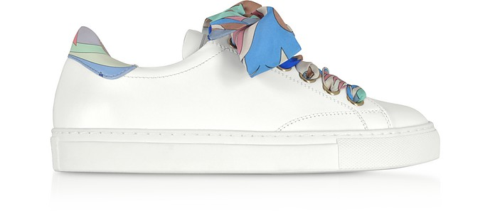 White Leather Low-top Sneakers w/Silk Printed Laces - Emilio Pucci