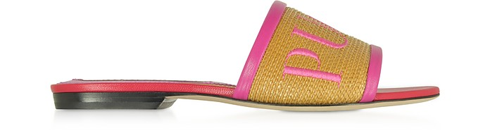 Raffia & Leather Slipper w/Embroidered Logo - Emilio Pucci