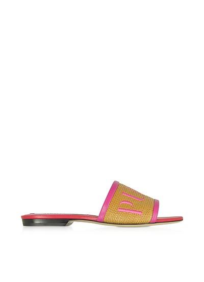 棕榈编织皮革拖鞋 - Emilio Pucci 普琪
