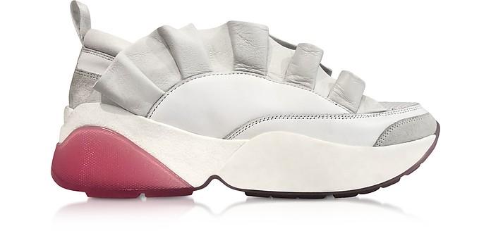 白色Ruffle低帮运动鞋 - Emilio Pucci 普琪