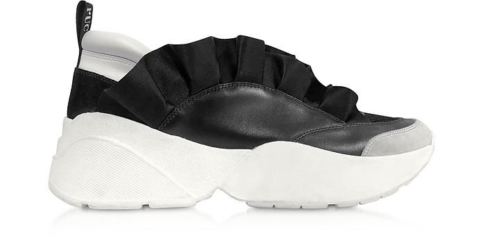 Black Ruffle Low Top Sneakers - Emilio Pucci