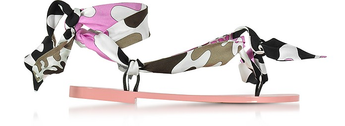 Dark Brown and Peonia Pink Silk Flat Sandals - Emilio Pucci