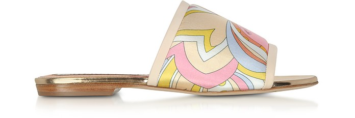 Yellow Printed Canvas and Leather Flat Slide Sandals - Emilio Pucci