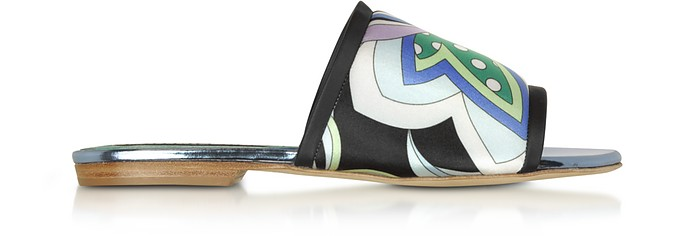 Cornflower  Printed Canvas and Leather Flat Slide Sandals - Emilio Pucci