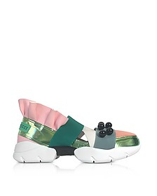 Green and Pink Laminated Leather Sneakers w/Black Pearls - Emilio Pucci