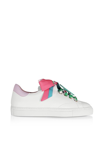 White/Lilac Leather Women's Sneakers - Emilio Pucci
