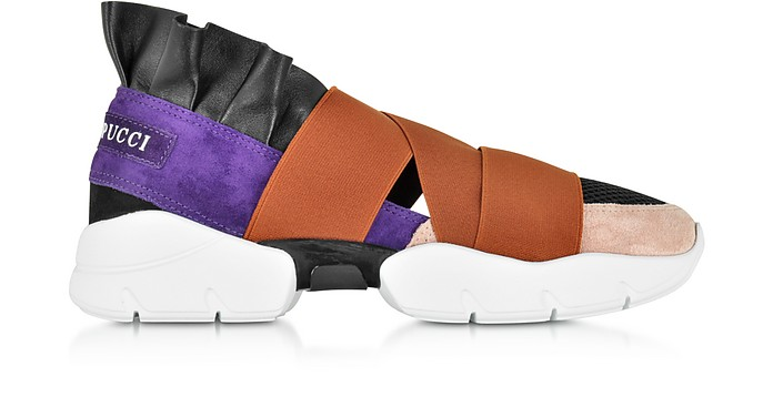 Black, Purple and Brown Polyester & Leather Sneaker - Emilio Pucci
