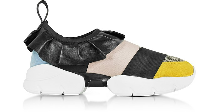 Black, Light Blue, Gold and Taupe Polyester & Leather Sneaker - Emilio Pucci