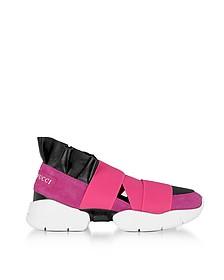 Sneakers in Suede Geranio e Pelle Nera - Emilio Pucci