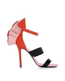 色块麂皮绒和丝绸高跟凉鞋配荷叶边 - Emilio Pucci 普琪