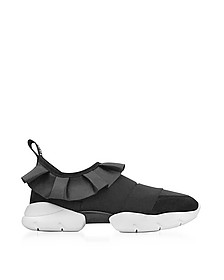 Black Tech Fabric and Leather Ruffle Sneakers - Emilio Pucci
