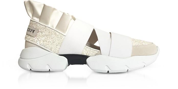 White Glitter Nylon Ruffle Sneakers