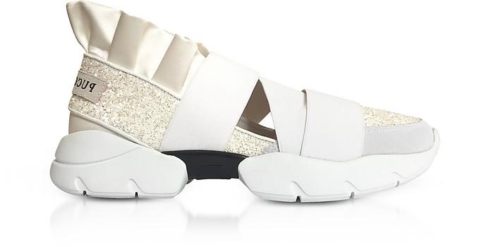 White Glitter Nylon Ruffle Sneakers - Emilio Pucci