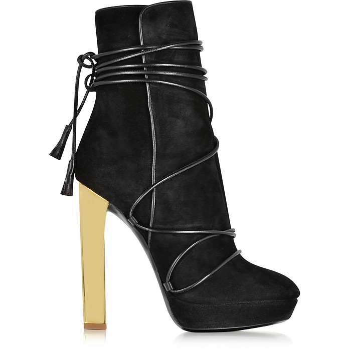 Black Suede Platform Boots - Emilio Pucci