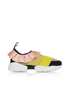 Multi Pink/Mustard Tech Fabric and Silk Ruffle Sneakers - Emilio Pucci