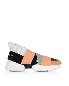 Multi White, Black and Peach Suede and Leather Ruffle Sneakers - Emilio Pucci