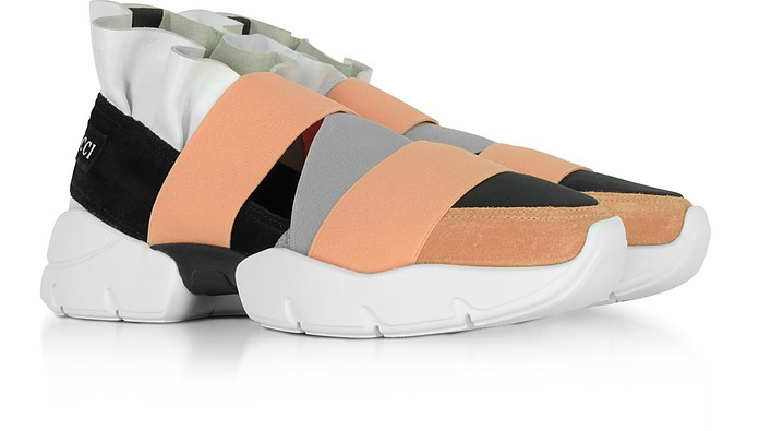 06605abdacd9 Twitter · Pinterest · Share on Tumblr. Multi White, Black and Peach Suede  and Leather Ruffle Sneakers - Emilio Pucci