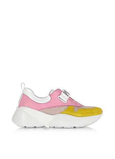 Pink & Lime Green Leather and Nylon Sneakers - Emilio Pucci
