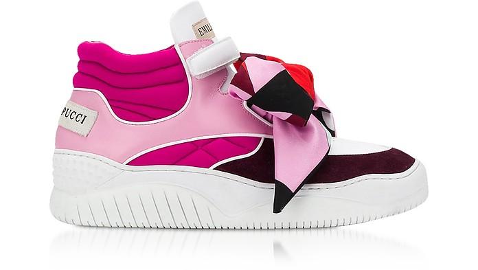 Sneakers Mid Top in Pelle, Suede e Neoprene Color block - Emilio Pucci
