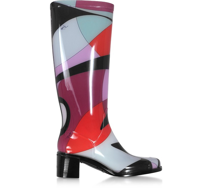 Bordeaux Abstract Print Tall Rain Boots - Emilio Pucci